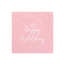 Servetten Happy birthday Queen lichtroze - 20 Stuks