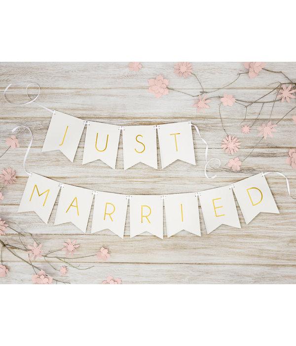 Letterslinger Just Married Wit - 155cm