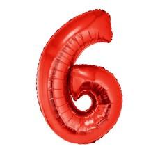 Folieballon Rood Cijfer '6' Groot