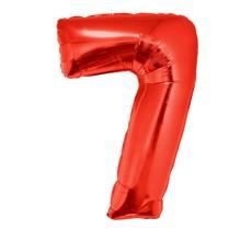 Folieballon Rood Cijfer '7' Groot