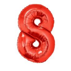 Folieballon Rood Cijfer '8' Groot