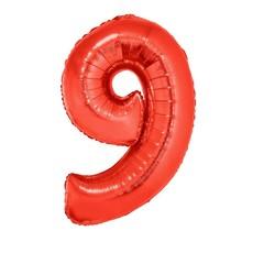 Folieballon Rood Cijfer '9' Groot