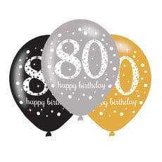 Ballonnen 80 Jaar Happy Birthday Zilver, Goud en Zwart