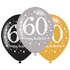 Ballonnen 60 Jaar Happy Birthday Zilver, Goud En Zwart