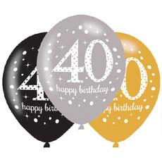 Ballonnen 40 Jaar Happy Birthday Zilver, Goud En Zwart