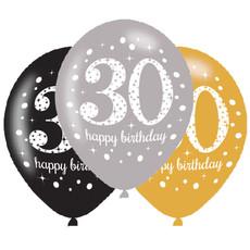 Ballonnen 30 Jaar Happy Birthday Zilver, Goud En Zwart