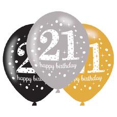 Ballonnen 21 Jaar Happy Birthday Zilver, Goud En Zwart