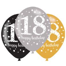 Ballonnen 18 Jaar Happy Birthday Zilver, Goud En Zwart