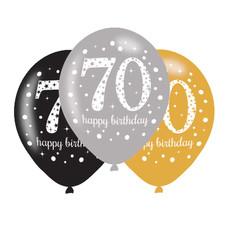 Ballonnen 70 Jaar Happy Birthday Zilver, Goud En Zwart