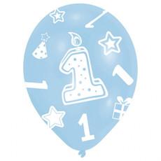 Ballonnen Verjaardag 1 Jaar Blauw - 6 Stuks