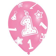 Ballonnen Verjaardag 1 Jaar Roze - 6 Stuks