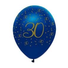 Ballonnen 30 Jaar Navy Blauw/Goud - 6 Stuks