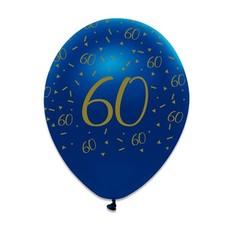 Ballonnen 60 Jaar Navy Blauw/Goud - 6 Stuks