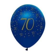 Ballonnen 70 Jaar Navy Blauw/Goud - 6 Stuks
