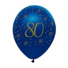 Ballonnen 80 Jaar Navy Blauw/Goud - 6 Stuks