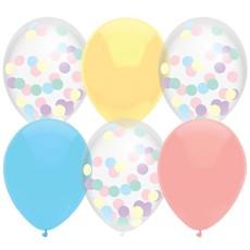 Ballonnen Mix Pastel Confetti - 6 Stuks