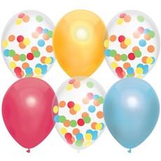 Ballonnen Mix Regenboog Confetti - 6 Stuks