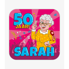 Huldeschild 50 Jaar Sarah Cartoon