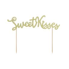 Cake Topper 'Sweet Kisses' Glitter Goud
