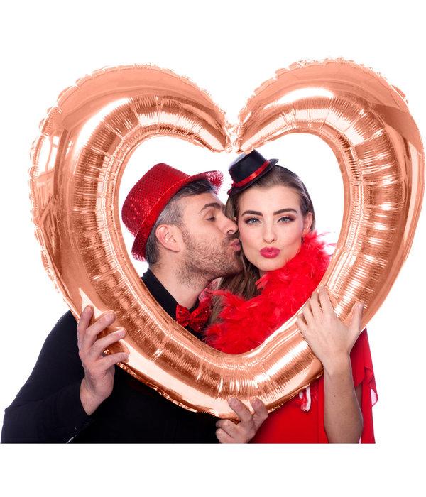 Folieballon Hartvormige Fotolijst Rosé Goud
