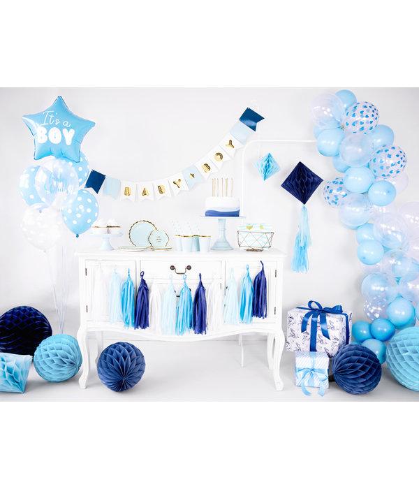 6 Transparante Ballonnen met hartjes print Sky Blue