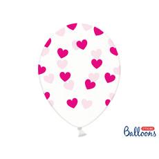 6 Transparante Ballonnen met hartjes print Fuchsia