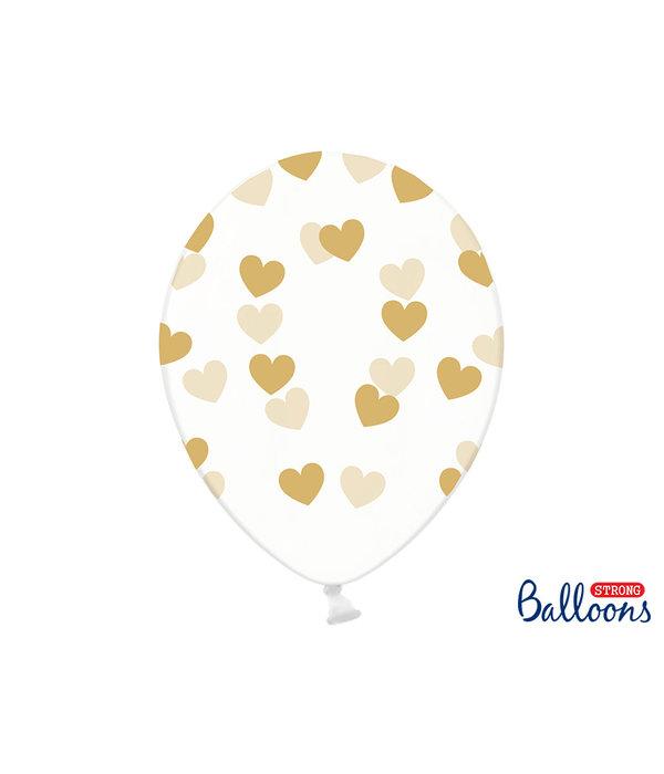6 Transparante Ballonnen met hartjes print Goud
