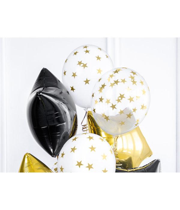 6 Transparante Ballonnen met Sterren print Goud