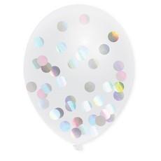 Transparante Confetti Ballonnen Holografisch - 5 Stuks