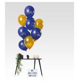 Ballonnen Set Happy Birthday Blauw/Goud Premium - 12 Stuks