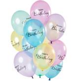 Ballonnen Happy Birthday Pastel Transparant  Premium (12st)