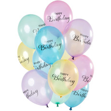 Ballonnen Happy Birthday Pastel Transparant  Premium (12st)