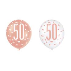 Ballonnen 50 Jaar Rosé Goud Glitz (6st)