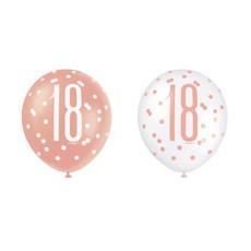 Ballonnen 18 Jaar Rosé Goud Glitz (6st)
