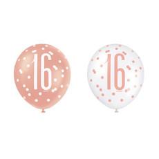Ballonnen 16 Jaar Rosé Goud Glitz (6st)