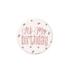 Button 'It's My Birthday' Rosé Goud Glitz