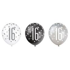 Ballonnen 16 Jaar Zwart en Zilver Glitz (6st)