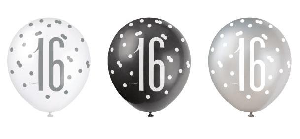Feestbazaar Ballonnen 16 Jaar Zwart en Zilver Glitz (6st) online kopen