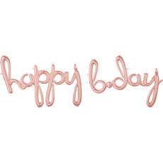 Folieballonnen 'Happy Bday' Rosé Goud