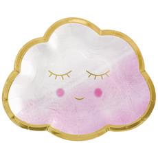 Feestbordjes Wolkjes Roze Meisje (8st)