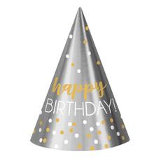 Feesthoedjes Happy Birthday Zilver/Goud (12st)