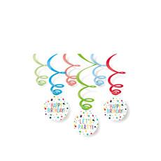 Hangdecoratie Swirls Happy Birthday Confetti (6st)