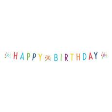 Letterbanner 30 Jaar Happy Birthday Confetti