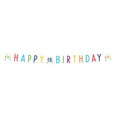 Letterbanner 18 Jaar Happy Birthday Confetti