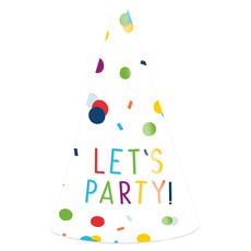 Feesthoedjes Let's Party Confetti (8st)