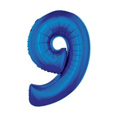 Folieballon Blauw Cijfer '9' Groot