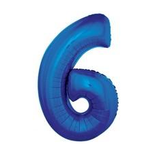 Folieballon Blauw Cijfer '6' Groot