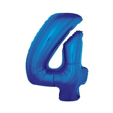 Folieballon Blauw Cijfer '4' Groot
