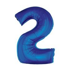 Folieballon Blauw Cijfer '2' Groot