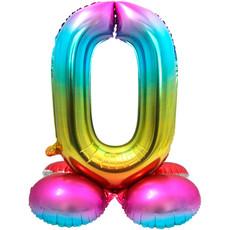Regenboog Folieballon Cijfer 0 Op Standaard - 72cm